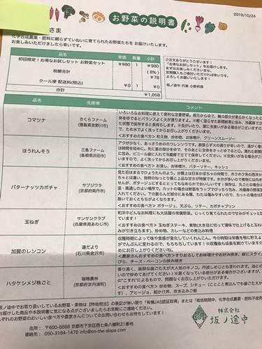 坂ノ途中お試しセット野菜セットに同梱添付の「お野菜の説明書」